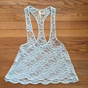 Blue Lacy Tank Top